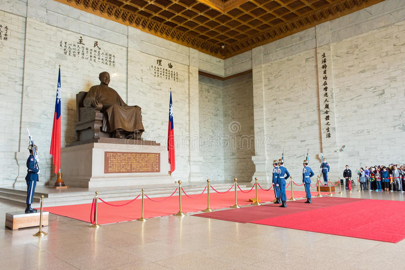 TAIPEI, TAIWAN - Jan 30 2016: Soldiers stand guard at Chiang Kai-shek Memorial Hall. a famous historic site in Taipei, Taiwan. stock image