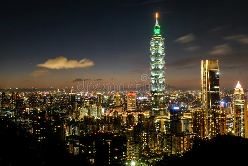 Nightshot of Taipei 101 stock photos
