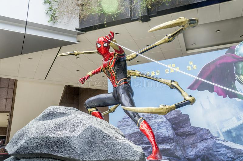 Taipei, Taiwan - June 27, 2019: Advertising decoration for the movie `Spider-Man: Far From Home` and displays at outdoor royalty free stock image