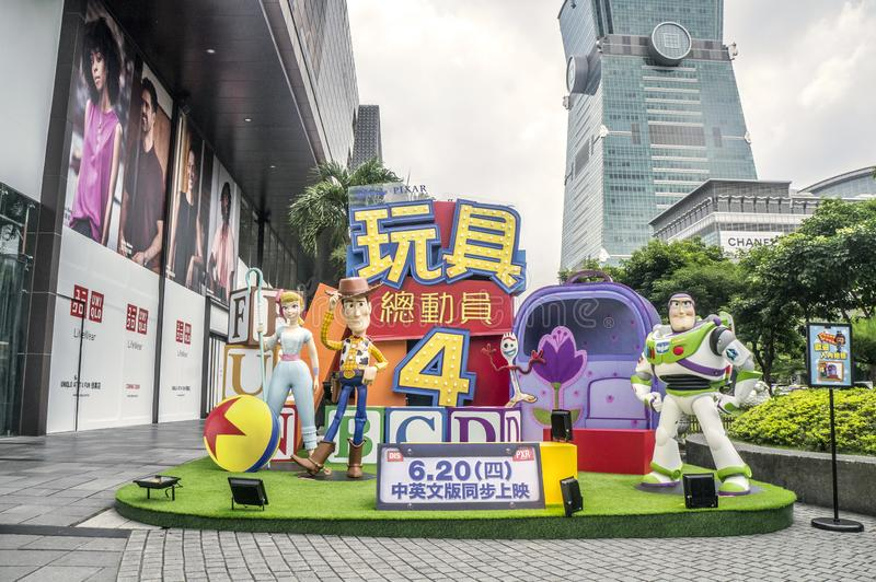 "Taipei, Taiwan - June 6, 2019: Advertising decoration for the movie ""Toy Story 4"" and displays at outdoor to promote the stock photography"