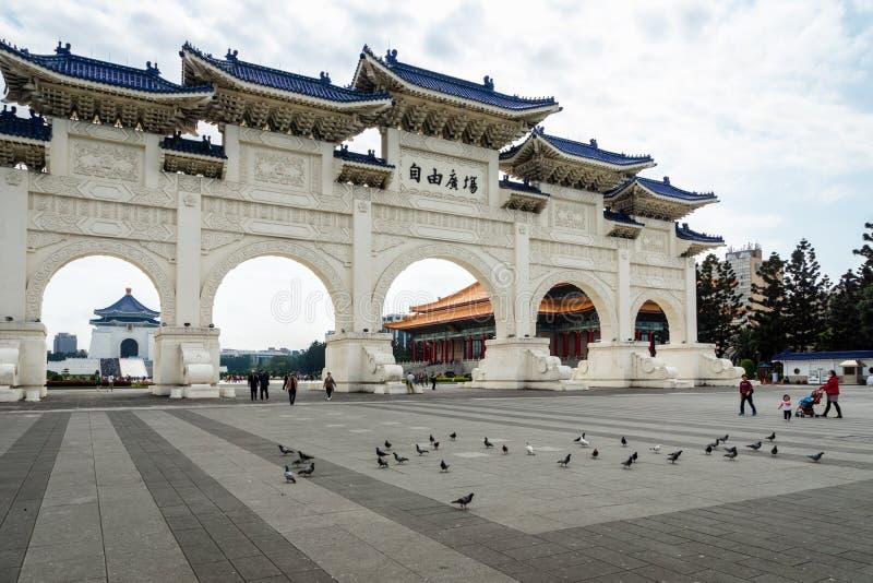 Gate of Freedom Square at Chiang Kai-shek Memorial Hall, Taipei, Taiwan. Taipei, Taiwan - March 2019: Gate of Freedom Square at Chiang Kai-shek Memorial Hall royalty free stock photo