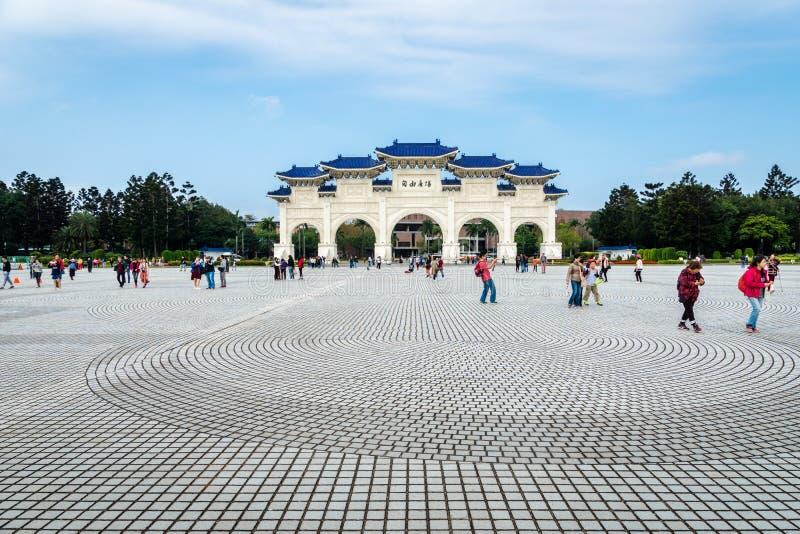 Freedom Square and visitors at Chiang Kai-shek Memorial Hall, Taipei, Taiwan. Taipei, Taiwan - March 2019: view of Freedom Square and visitors at Chiang Kai-shek royalty free stock photos
