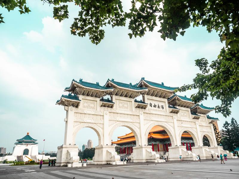 Taipei, Taiwan - May 13, 2019: Arch in front of the Liberty Square Freedom Square Main Entrance gate with tourist visiting royalty free stock photo