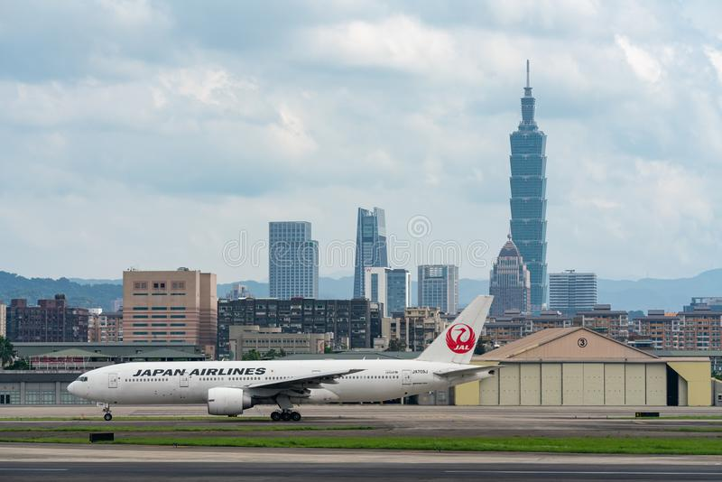 JAL Boeing 777-200ER taxing royalty free stock image