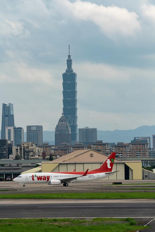 T`Way Airlines Boeing 737-800 taxing stock image