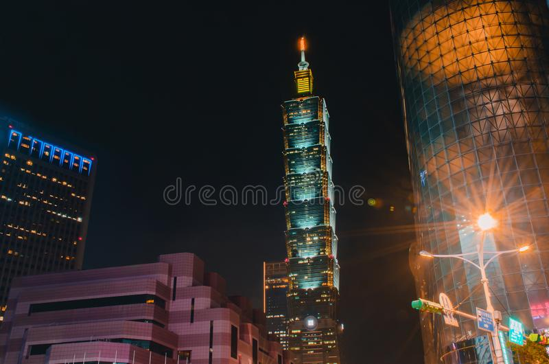 Xinyi District and Taipei 101 Skyscraper  ,The building was officially classified as the world`s tallest in 2004 until 2010. A Xinyi District and Taipei 101 stock photography