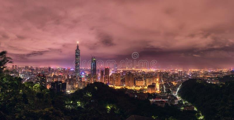 Taipei, Taiwan. Night Panorama. Skyline. Cityscape. Taipei 101 Taipei World Financial Center in Background. Taipei, Taiwan Night Panorama. Skyline stock image