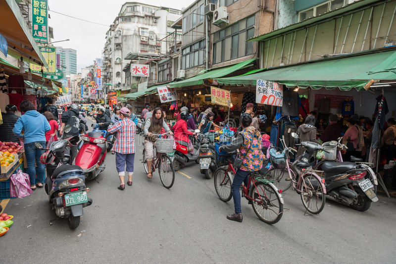 TAIPEI, TAIWAN - NOVEMBER 30, 2016: Taipei Street in one of suburb, district. Market Street in Taipei. royalty free stock images