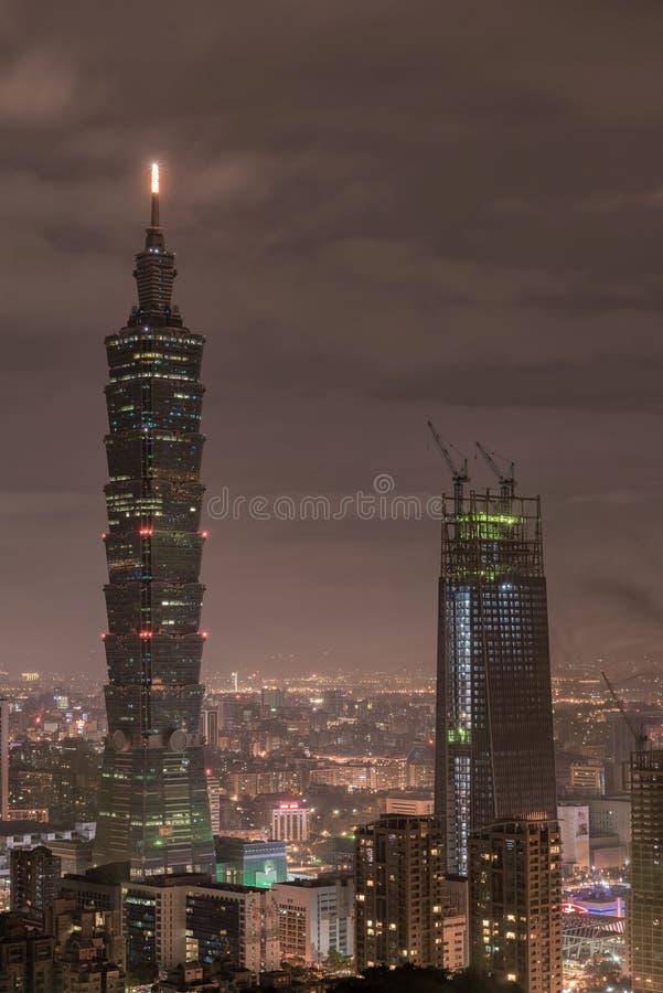 TAIPEI, TAIWAN - NOVEMBER 29, 2016: Taipei, Taiwan. Night Panorama. Skyline. Cityscape. Taipei 101 Taipei World Financial Center i royalty free stock photo