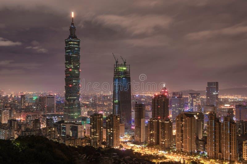 TAIPEI, TAIWAN - NOVEMBER 29, 2016: Taipei, Taiwan. Night Panorama. Skyline. Cityscape. Taipei 101 Taipei World Financial Center i. Taipei, Taiwan. Night stock photo