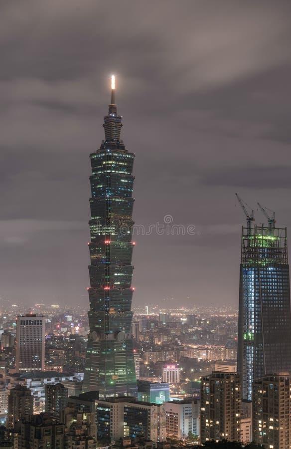TAIPEI, TAIWAN - NOVEMBER 29, 2016: Taipei, Taiwan. Night Panorama. Skyline. Cityscape. Taipei 101 Taipei World Financial Center i stock photography