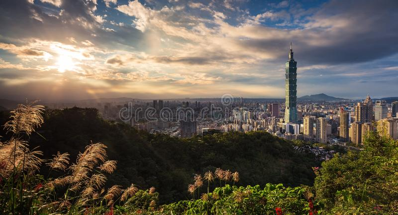 Taipei 101 in Taiwan. Photographing Taipei City from Taiwan on the mountain, the mood is very good stock image