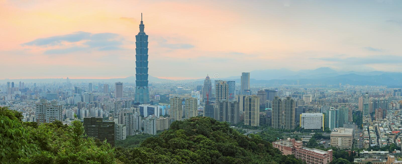 Taipei, Taiwan skyline at twilight stock images