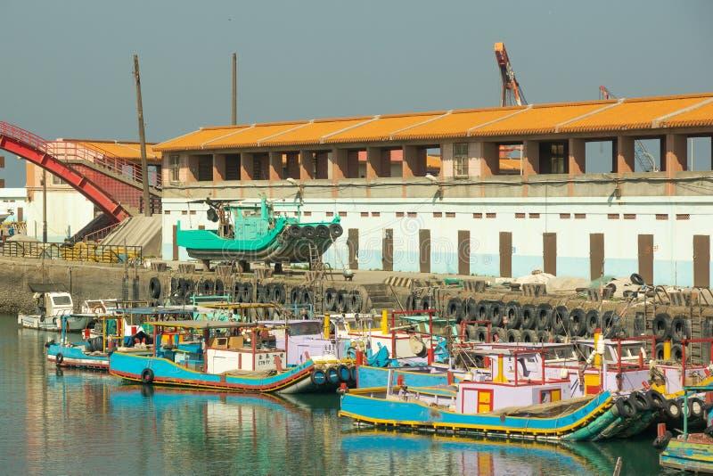 Taipei/Taiwan-23.03.2018:The taiwanese boats in harbor royalty free stock photos