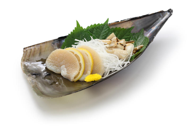 Tairagi (和平的笔壳, atrina pectinata)生鱼片,日本烹调 免版税库存照片