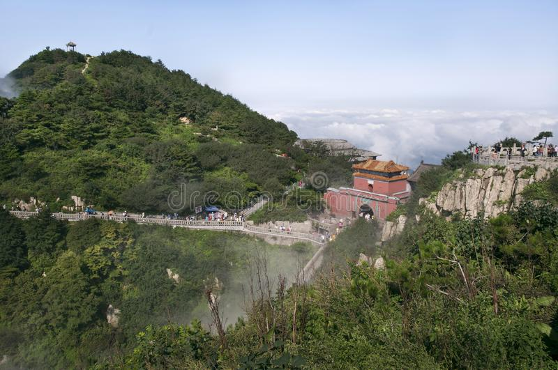 South Gate to Heaven on the summit of Tai Shan, China royalty free stock photography