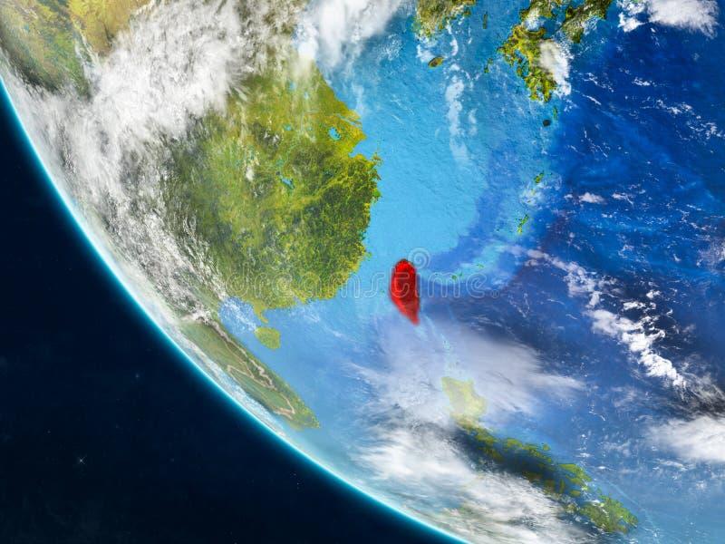Taiwán del espacio en la tierra stock de ilustración