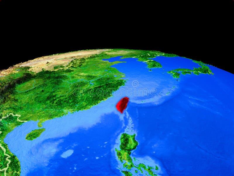 Taiwán del espacio en la tierra ilustración del vector