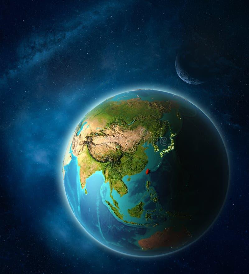 Taiwán en la tierra del espacio stock de ilustración
