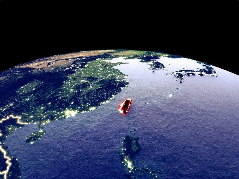 Taiwán en la tierra del espacio ilustración del vector