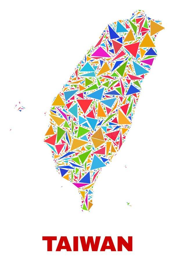 Taiwan översikt - mosaik av färgtrianglar stock illustrationer