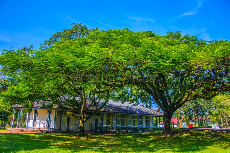 Taiwan Adventist College on Nantou County Yuchi Township. The Taiwan Adventist College is a Christ`s College. The beautiful campus is nearby Sun Moon Lake royalty free stock photography