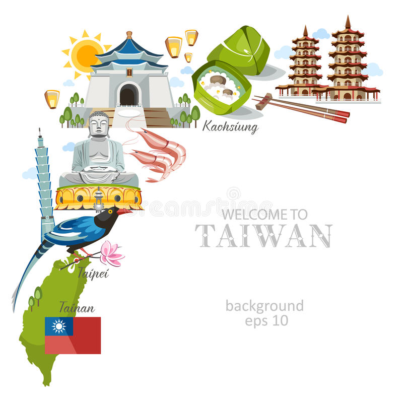 Taiwan background. With traditional architecture sights and symbols vector illustration