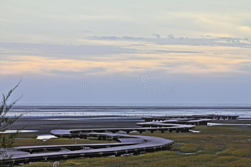 Taiwan beauty - Gaomei wetland area. Gaomei wetland area was not much, but it also has two kinds of mud and sand geology, and marshes and estuaries closely tied royalty free stock photo