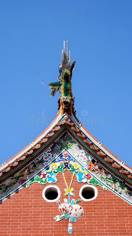 Taiwan Chiense temle roof design colorful porcelain tiles stock photography