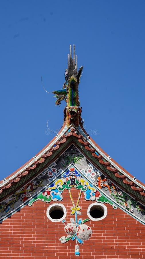Taiwan Chiense temle roof design colorful porcelain tiles stock photos