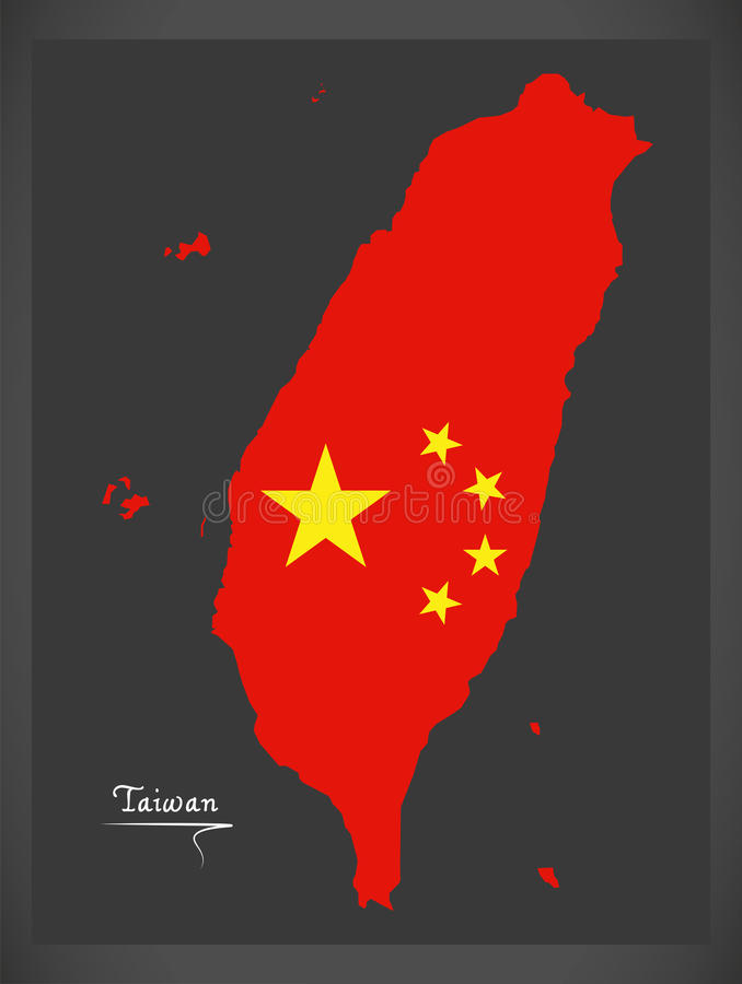Taiwan China Map With Chinese National Flag Illustration Stock ...