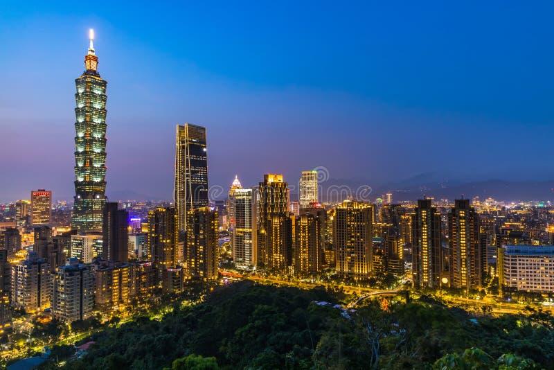 Taiwan city skyline at twilight , The beautiful sunset of Taipei, Aerial view Taiwan city skyline stock images