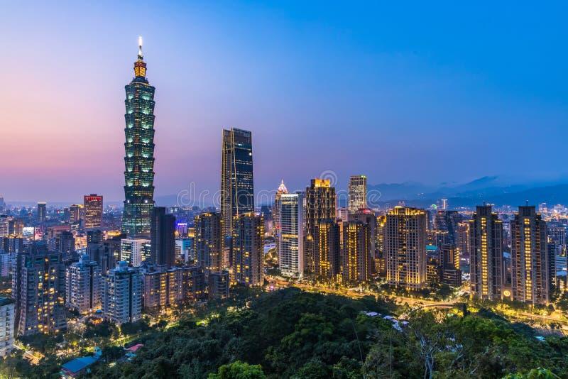 Taiwan city skyline at twilight , The beautiful sunset of Taipei, Aerial view Taiwan city skyline stock photography