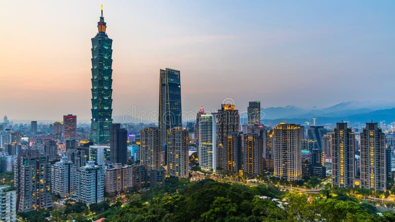 Taiwan city skyline at twilight , The beautiful sunset of Taipei, Aerial view Taiwan city skyline and skyscraper stock photography