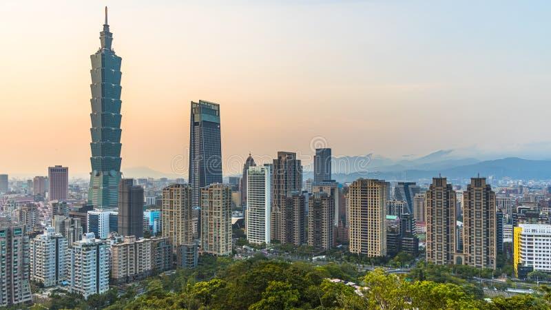 Taiwan city skyline at twilight , The beautiful sunset of Taipei, Aerial view Taiwan city skyline and skyscraper stock image