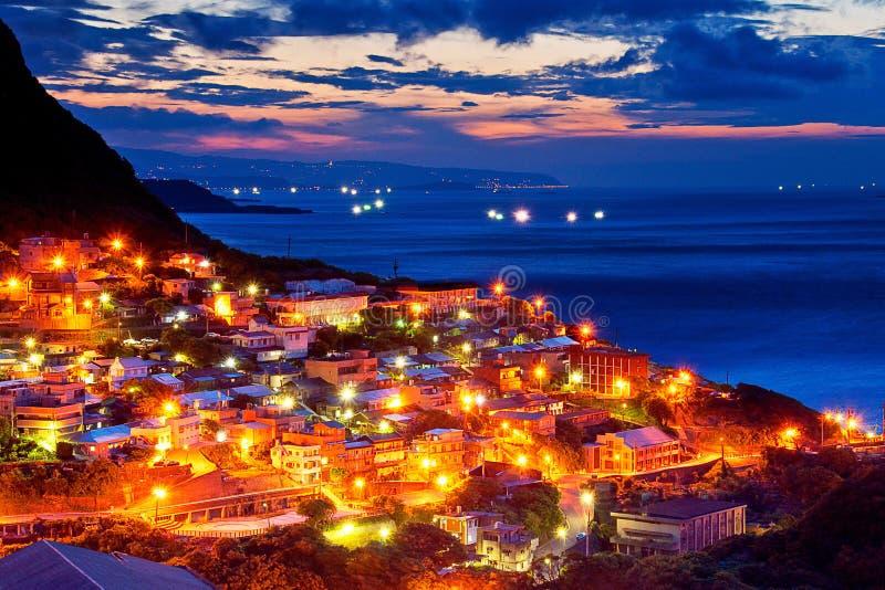 Taiwan coast night. The seaside mountain town scenery in Jiufen, Taiwan stock images