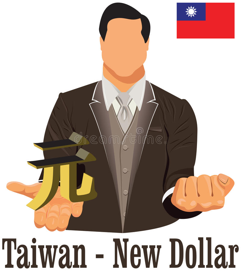 Taiwan Currency Symbol New Dollar Representing Money And Flag Stock