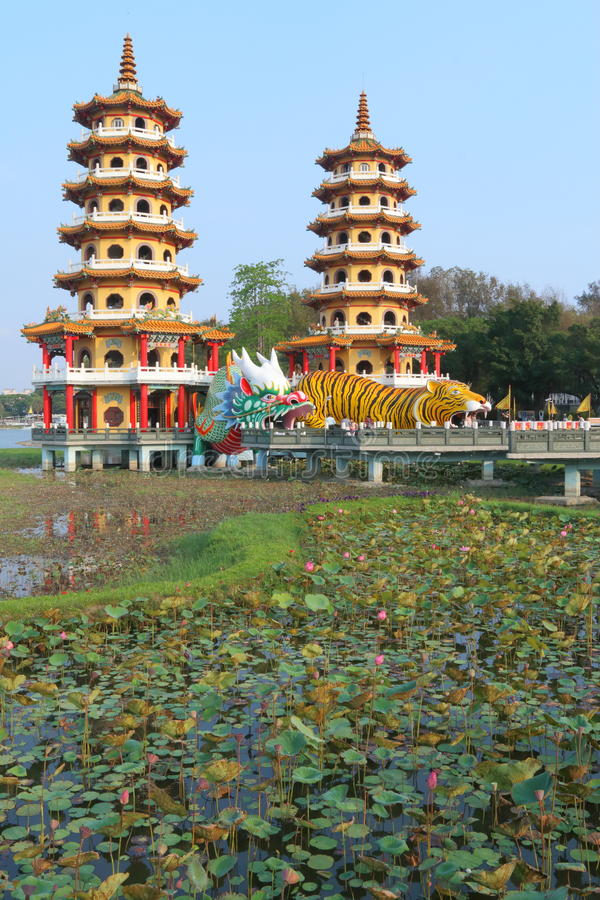 Taiwan : Dragon and Tiger Pagodas. The Dragon and Tiger Pagodas is a temple located at Lotus Lake in Zuoying District, Kaohsiung City, Taiwan. The dragon's stock photo