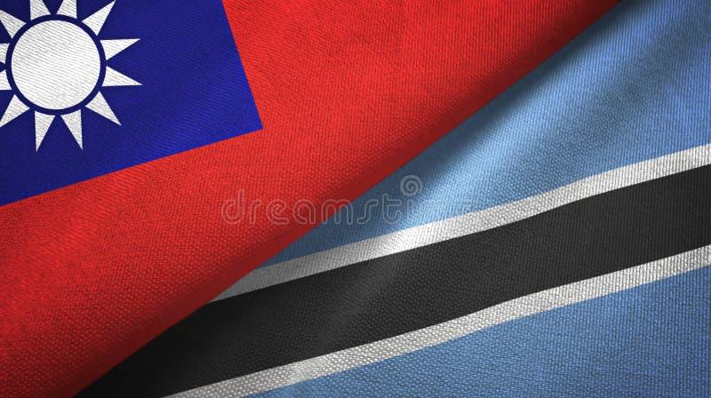 Taiwan en Botswana twee vlaggen textieldoek, stoffentextuur royalty-vrije illustratie