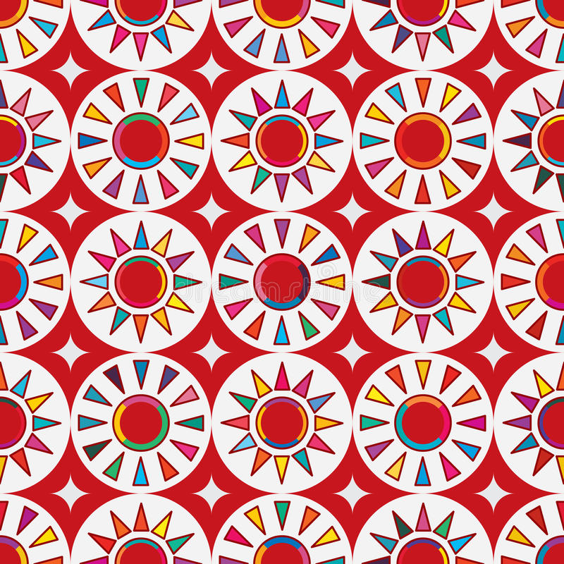 Taiwan flag abstract Japan red sun seamless pattern. This illustration is drawing abstract Taiwan flag element with colorful color and Japan flag red sun in royalty free illustration