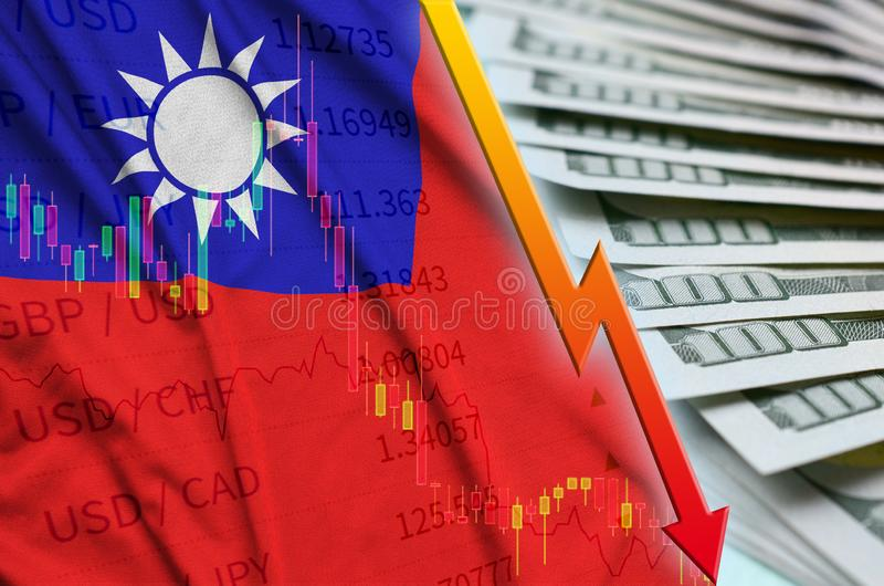 Taiwan flag and chart falling US dollar position with a fan of dollar bills royalty free stock photo