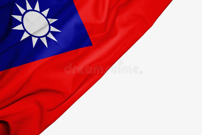 Taiwan flag of fabric with copyspace for your text on white background. Asia asian banner best capital china colorful competition country ensign free freedom stock illustration