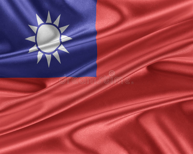 Taiwan flag with a glossy silk texture. stock illustration