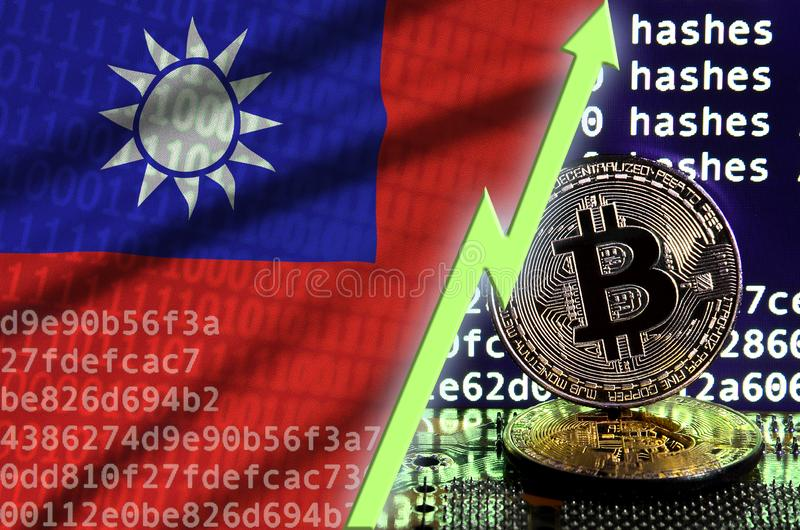 Taiwan flag and rising green arrow on bitcoin mining screen and two physical golden bitcoins vector illustration