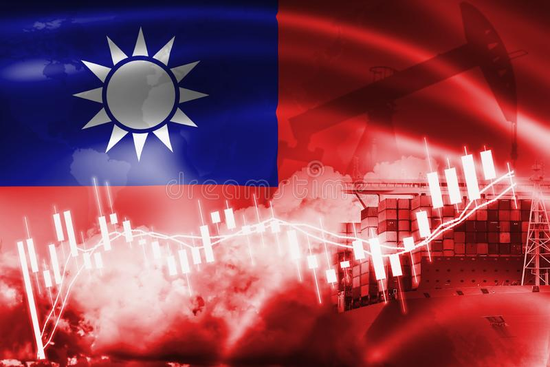 Taiwan flag, stock market, exchange economy and Trade, oil production, container ship in export and import business and logistics vector illustration