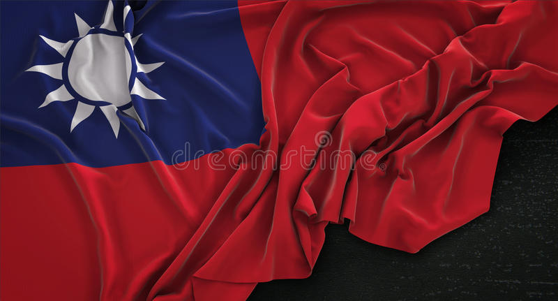 Taiwan Flag Wrinkled On Dark Background 3D Render. Digital Art royalty free illustration