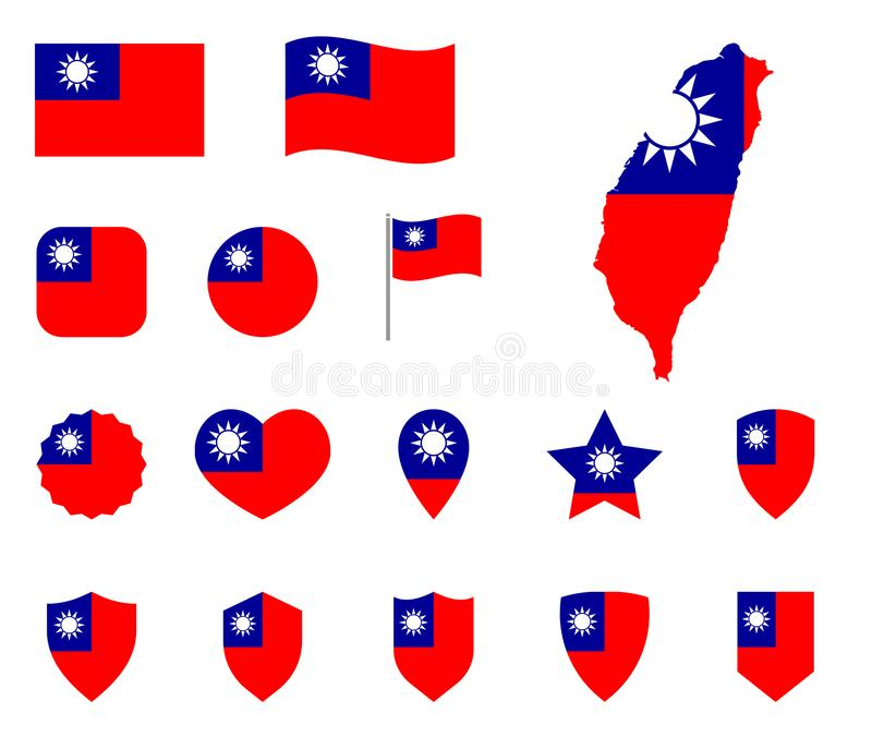 Taiwan-Flaggenikonensatz, Flagge der die Republik- Chinasymbole vektor abbildung