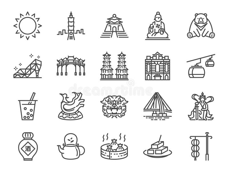 Taiwan icon set. Included the icons as Taipei, Chinese stone lion, bubble tea, Distilled Liquor, tea, stinky tofu, bear and more vector illustration