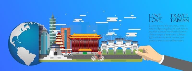 Taiwan infographic, global mit Marksteinen von Taiwan, flache Art Liebesreiseliebe Taiwan lizenzfreie abbildung