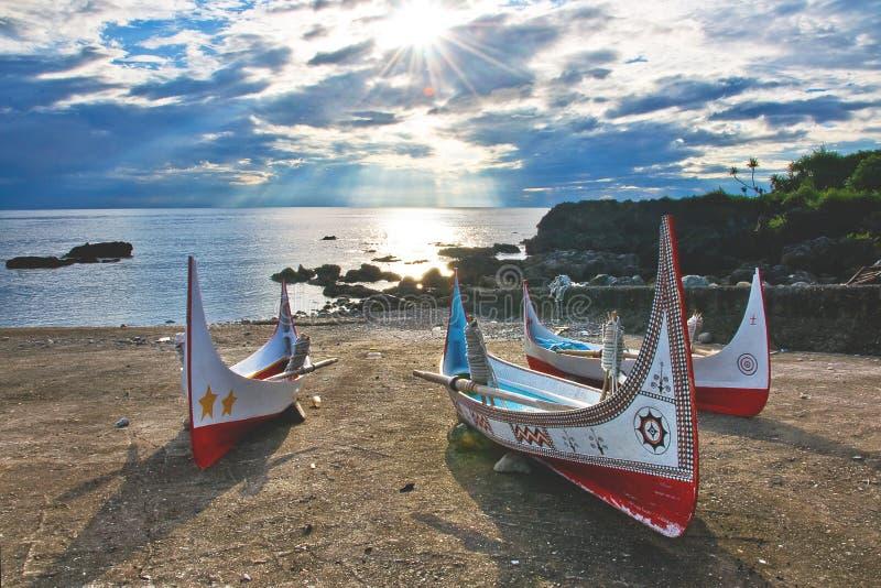 Taiwan island style. Taiwan Taitung Orchid Island Aboriginal canoe royalty free stock image